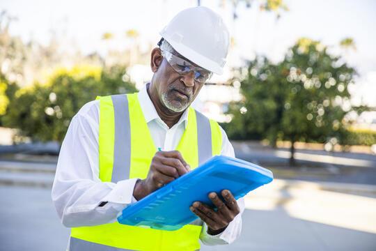 Man undertaking property inspection
